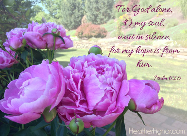 For God alone, O my soul, wait in silence, for my hope is from him. Psalm 62:5